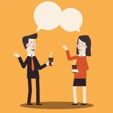 two talking